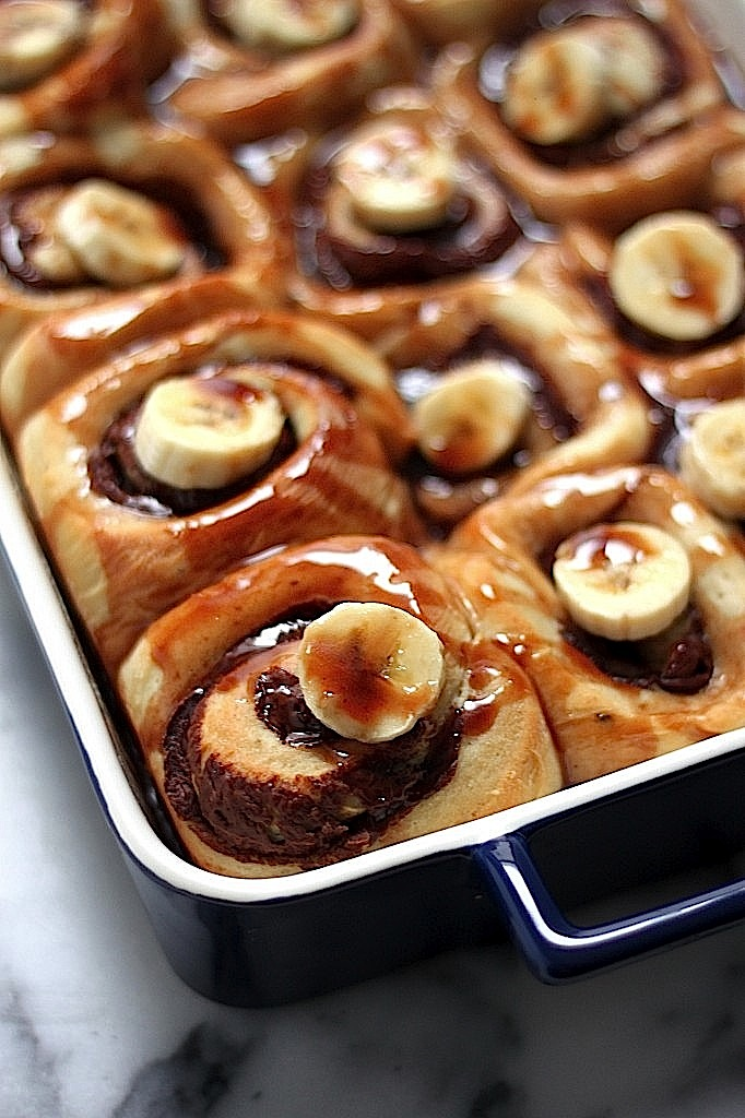 Nutella Stuffed Banana Sticky Buns - Baker by Nature
