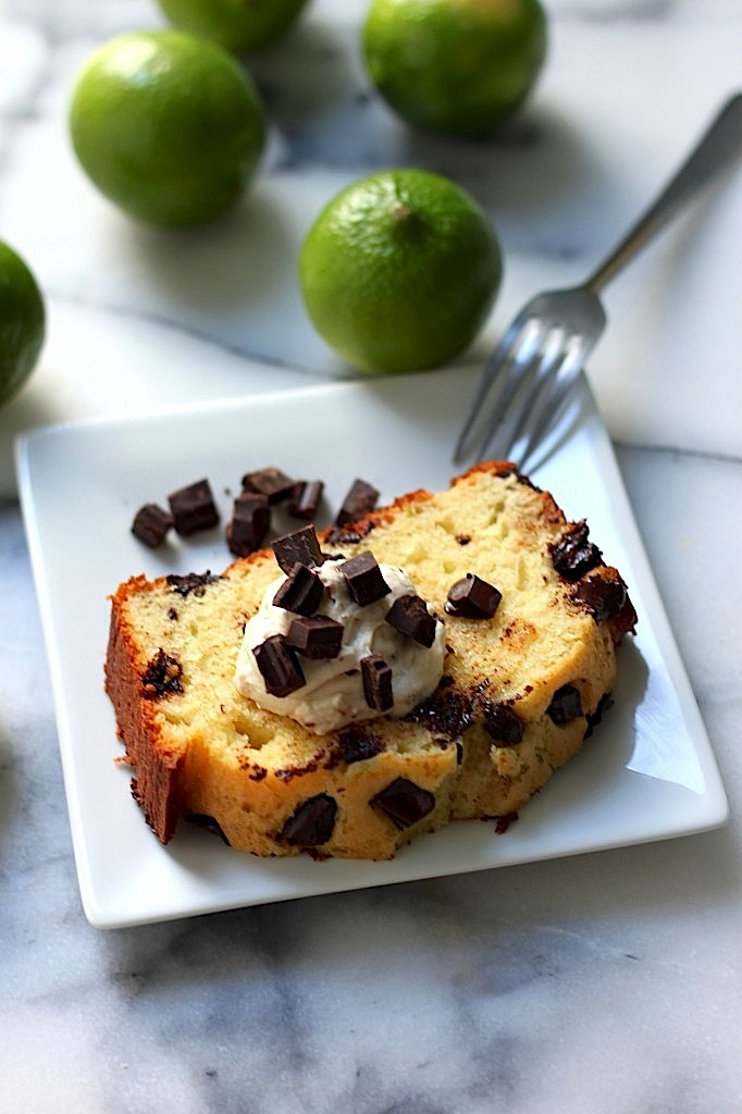 Dark Chocolate Chunk Coconut Key Lime Pound Cake