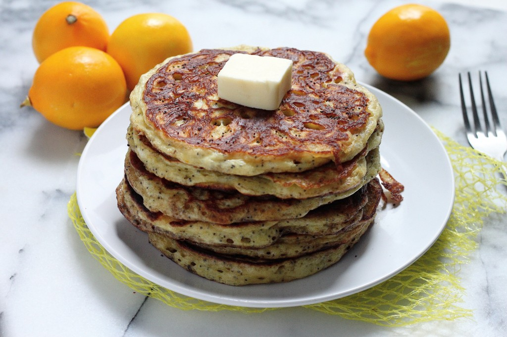 Greek Yogurt Meyer Lemon Poppy Seed Pancakes with Brown Butter Lemon Glaze