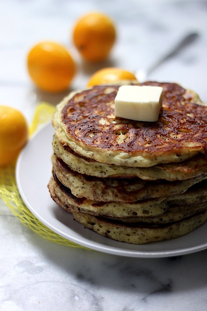 Greek Yogurt Meyer Lemon Poppy Seed Pancakes