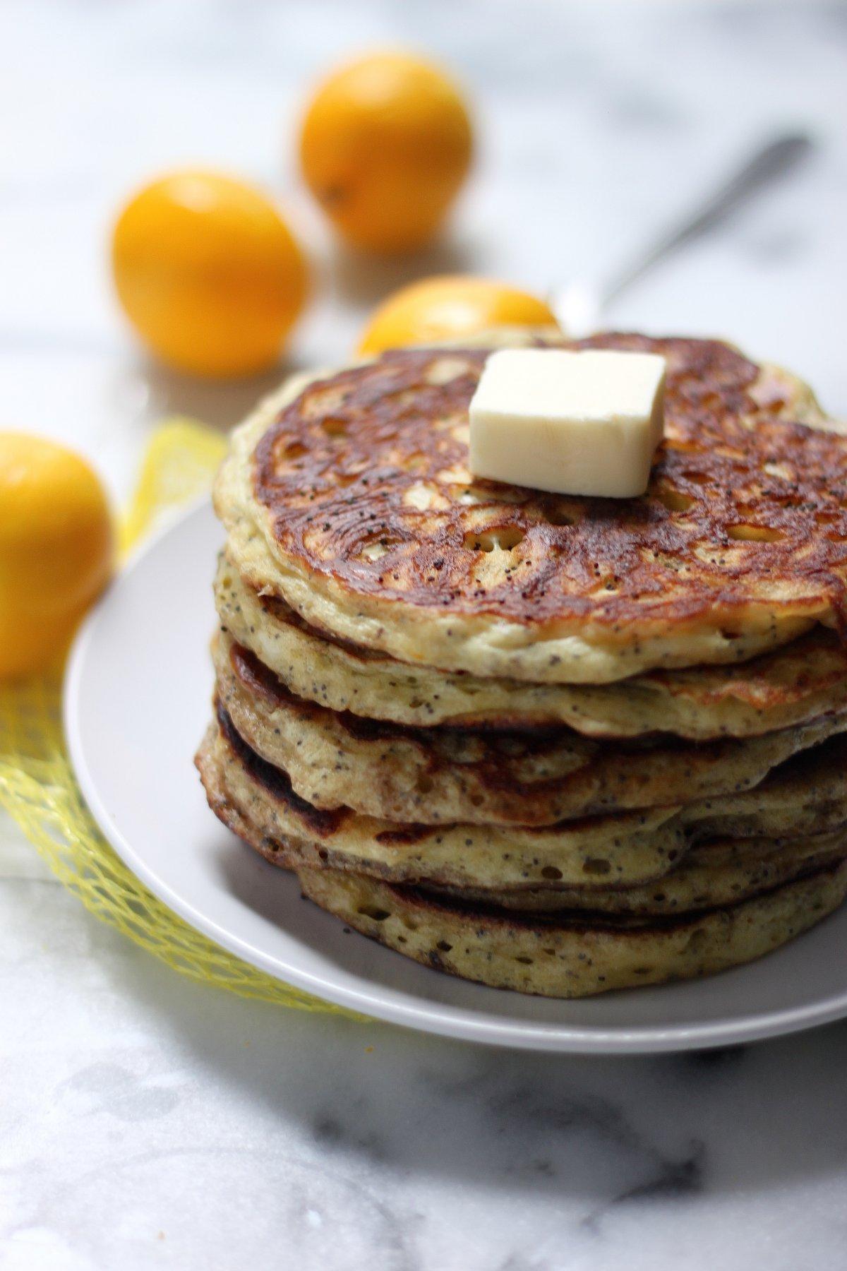 Greek Yogurt Meyer Lemon Poppy Seed Pancakes with Brown ...