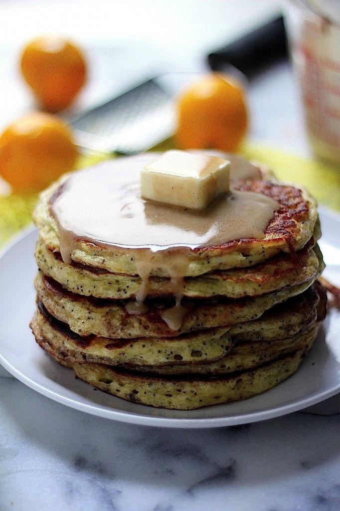 Greek Yogurt Meyer Lemon Poppy Seed Pancakes