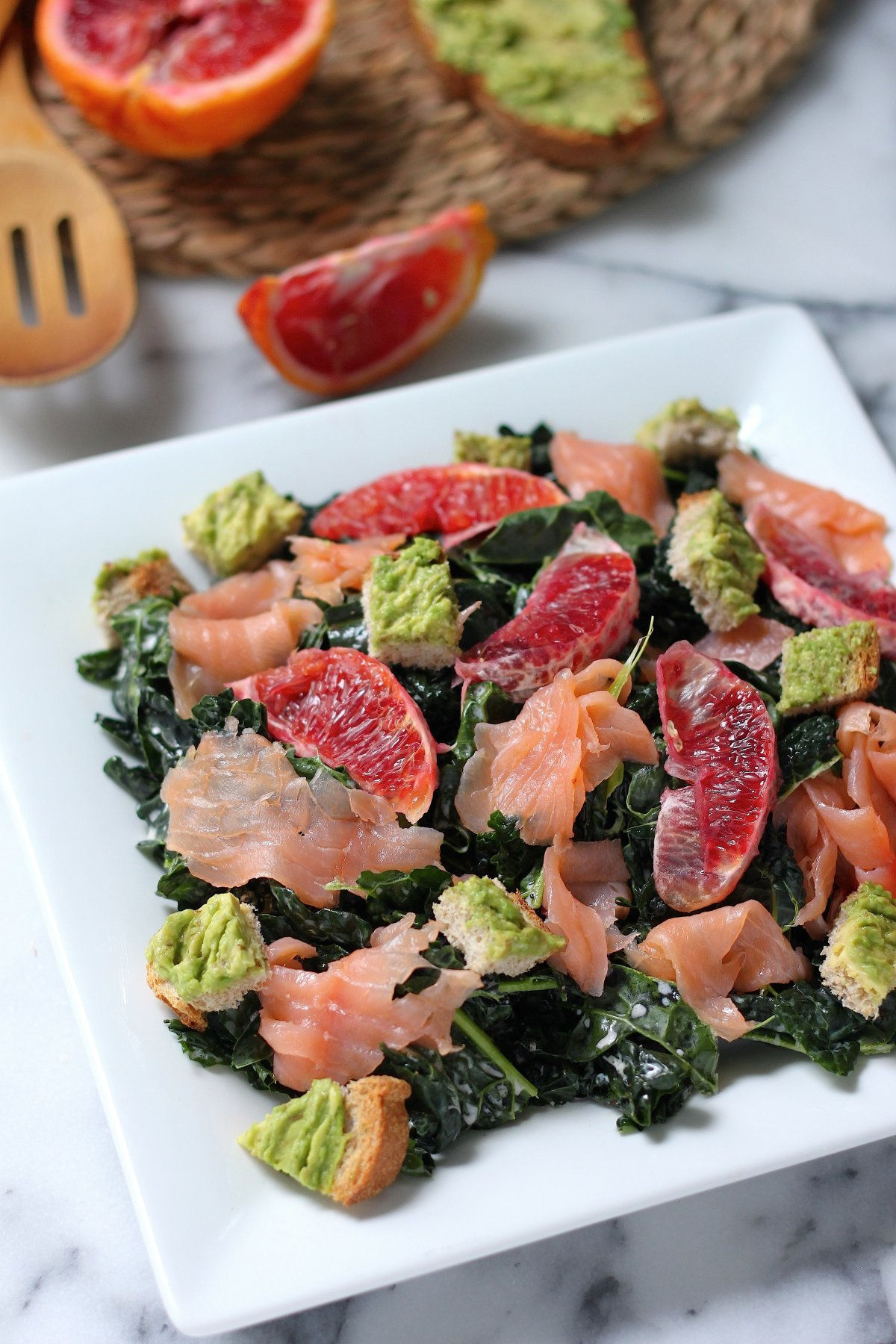Smoked Salmon and Blood Orange Kale Salad with Avocado Toast Croutons ...