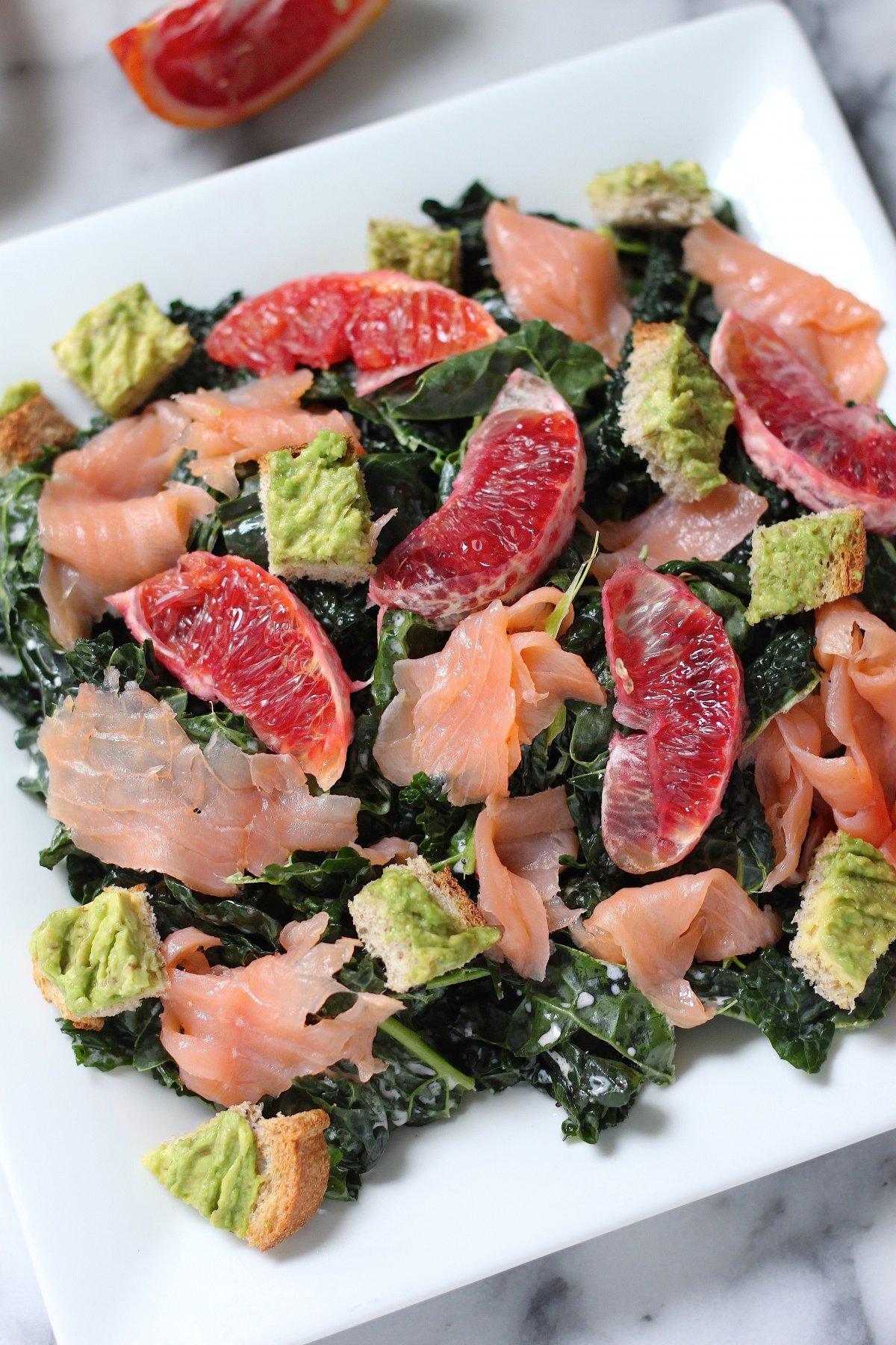Smoked Salmon and Blood Orange Kale Salad with Avocado ...