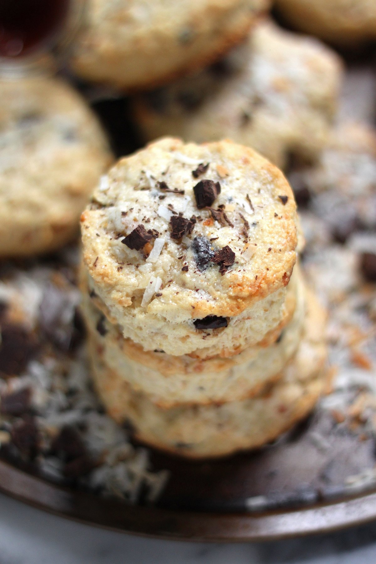 Chocolate Chunk Toasted Coconut Scones - Baker by Nature