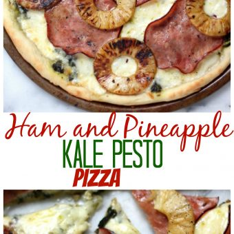 Ham and Pineapple Kale Pesto Pizza