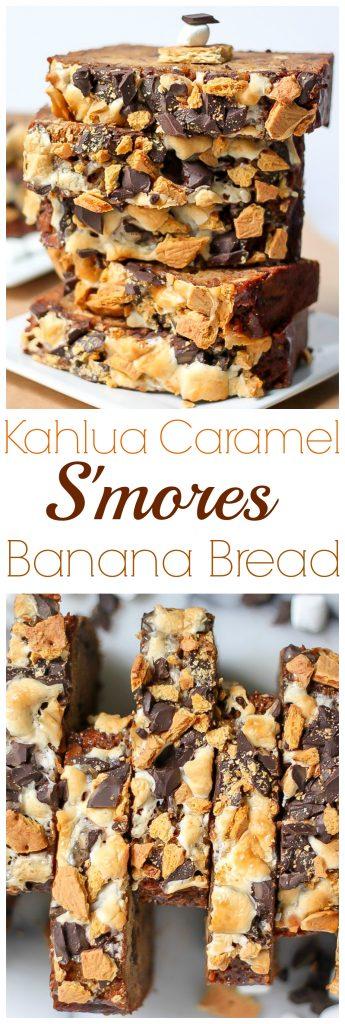 Kahlua Caramel S'mores Banana Bread - SO incredible!