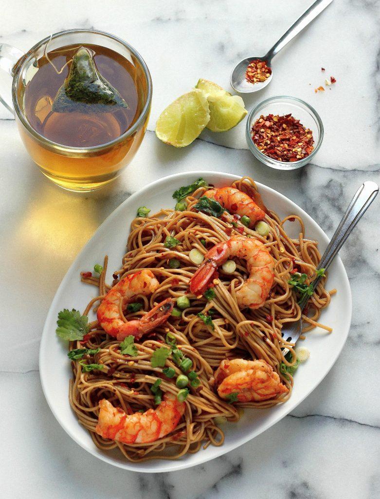 Super Simple Garlic and Ginger Shrimp Soba Noodles - Baker by Nature