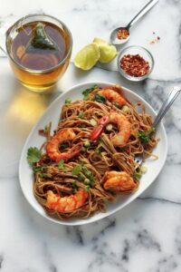 Shrimp Soba Noodles on a plate.