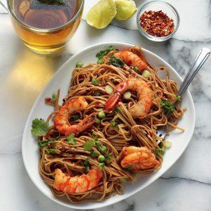 Shrimp Soba Noodles on a plate.