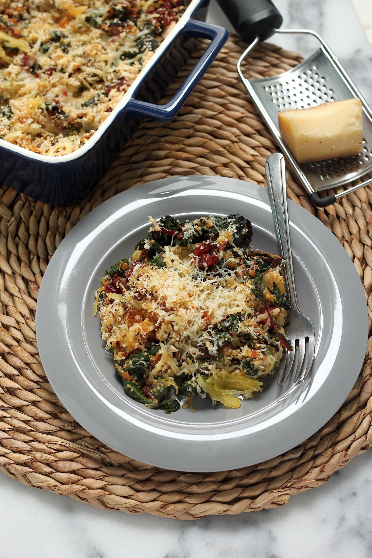 Lightened Up) Swiss Chard & Spaghetti Squash Gratin - Baker by Nature