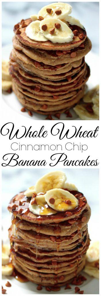 whole wheat cinnamon chip banana bread pancakes