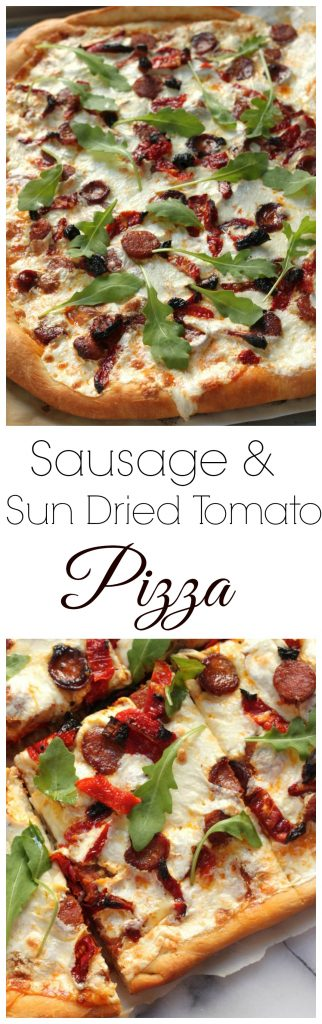 Spicy Sausage, Sun Dried Tomato, and Arugula Pizza