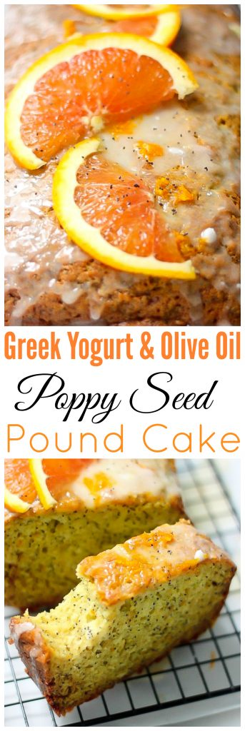 Light and SO fluffy! This healthy Greek Yogurt & Olive Oil Poppy Seed Pound Cake is amazing!!!