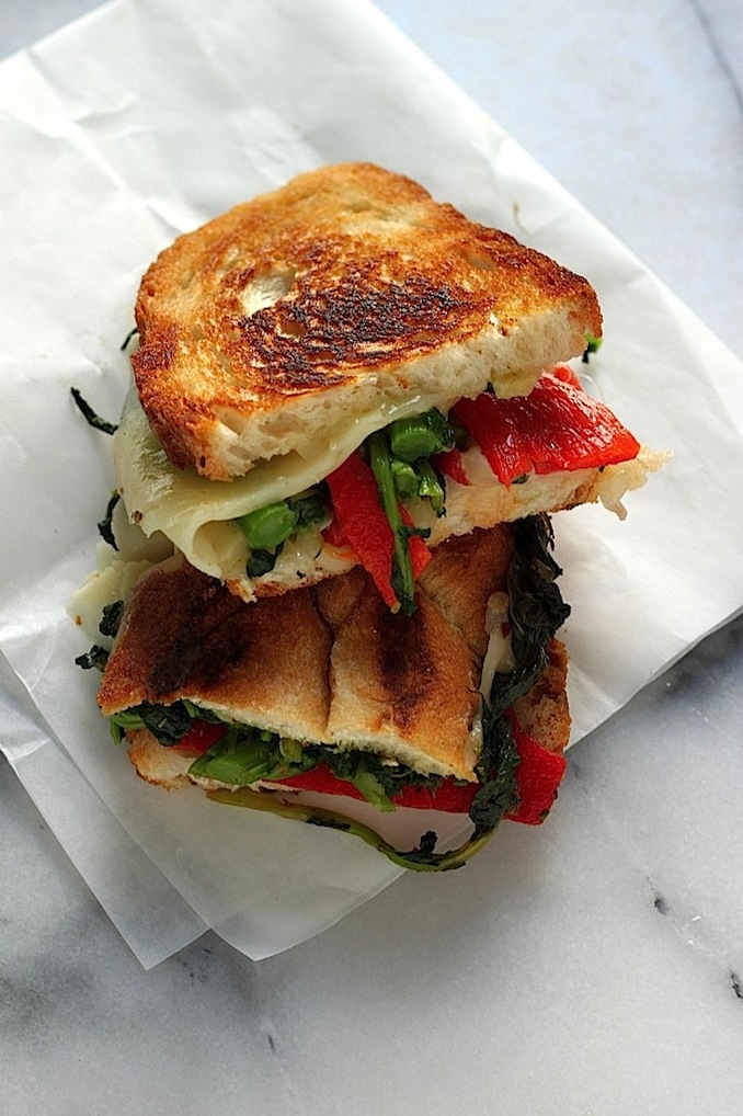 Broccoli Rabe, Roasted Red Pepper, and Provolone Grilled Cheese ...