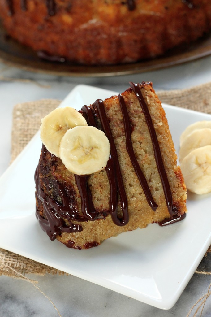 Banana Bread Bundt Cake with Milk Chocolate Drizzle - Baker by Nature