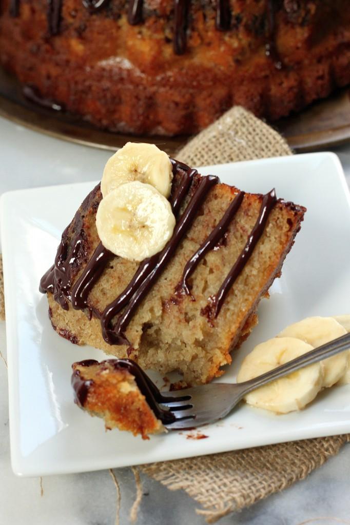 Banana Bread Bundt Cake with Milk Chocolate Drizzle