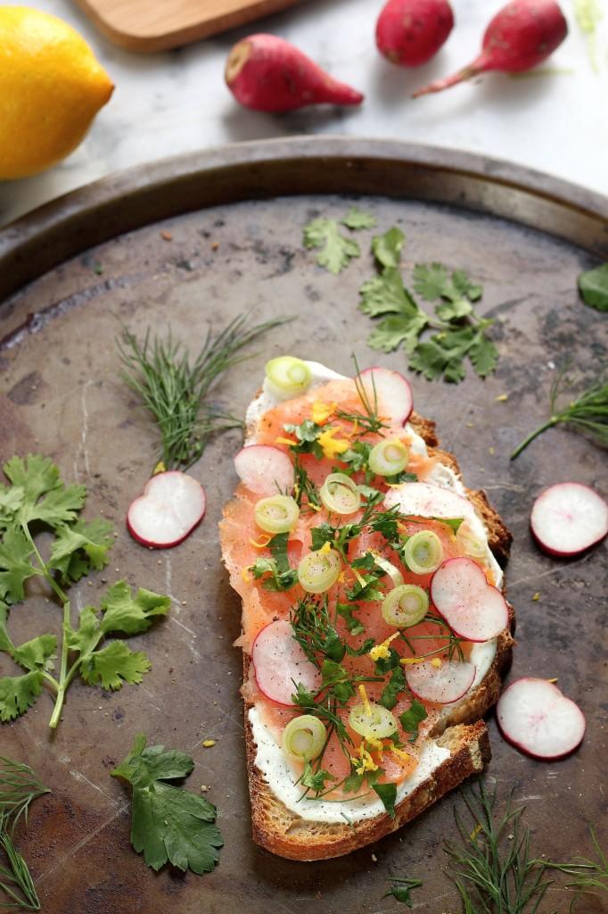 Smoked Salmon Tartines with Fresh Herbs, Radishes, and Creamy Wasabi Spread