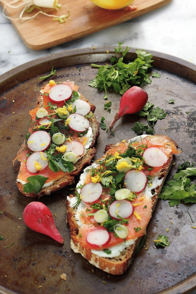 Smoked Salmon Tartines with Fresh Herbs and Creamy Wasabi Spread