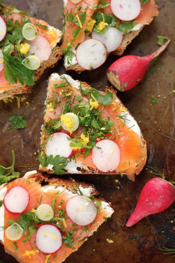 Smoked Salmon Tartines with Fresh Herbs and Creamy Wasabi Spread