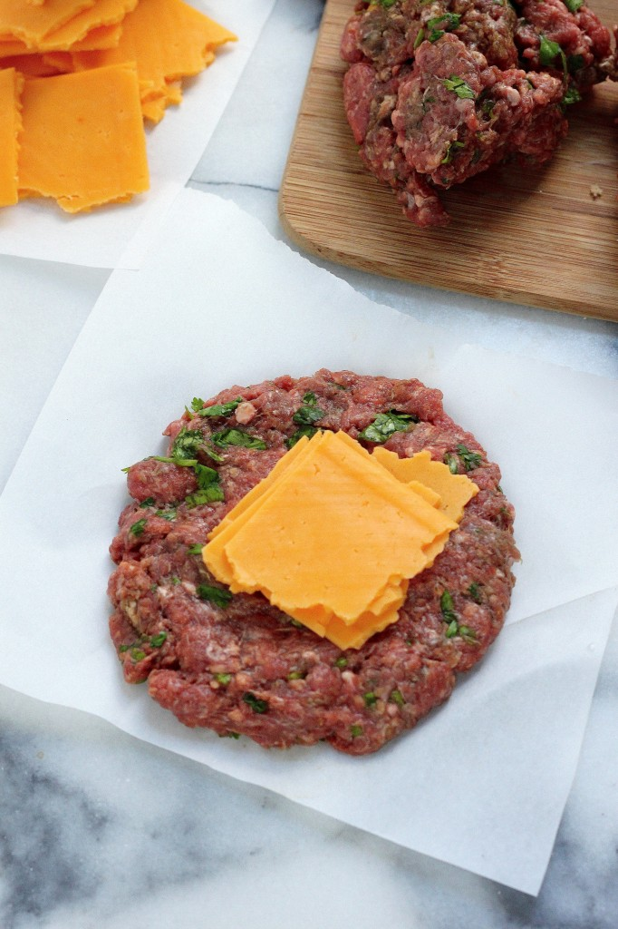 "Sriracha and Cheddar ""Juicy Lucy"" Burgers"