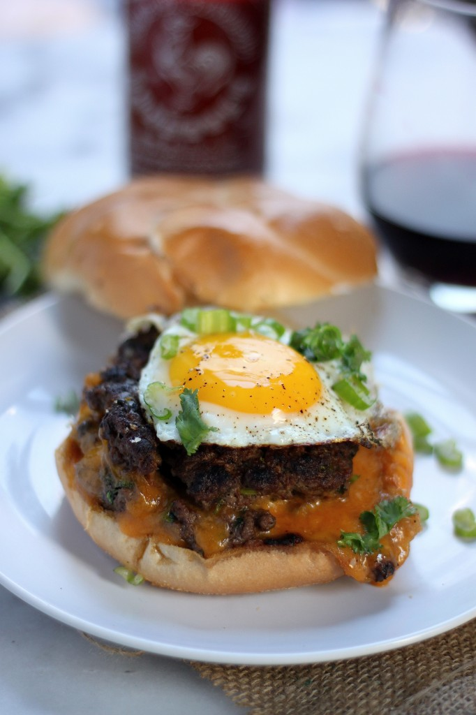 """Sriracha and Cheddar """"Jucy Lucy"""" Burgers"""