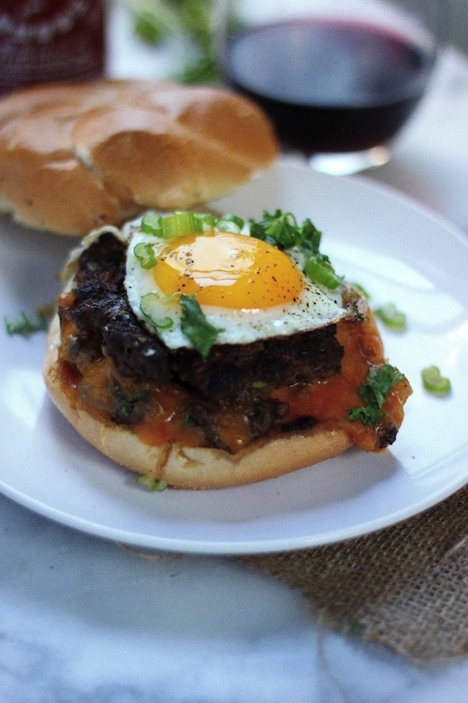 "Sriracha and Cheddar ""Jucy Lucy"" Burgers - Baker by Nature"