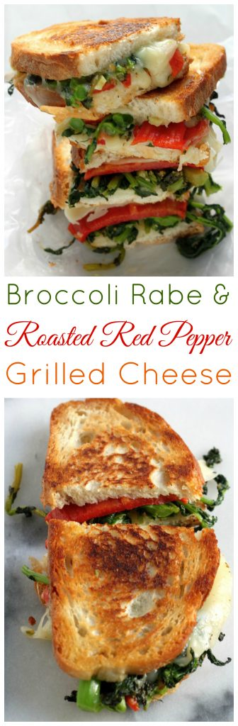 Roasted Red Pepper, Provolone, and Broccoli Rabe Grilled Cheese! Ready FAST and so delicious.