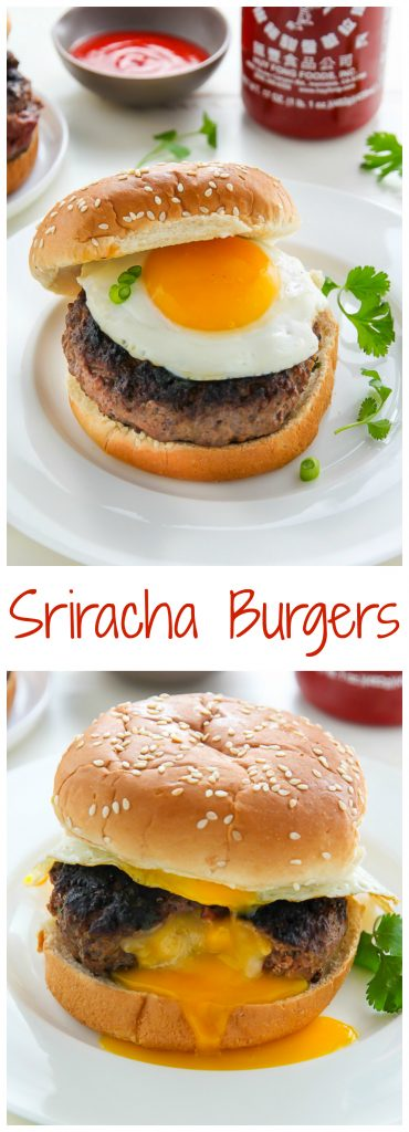 "Sriracha and Cheddar ""Jucy Lucy"" Burgers make an exciting meal any night of the week!"