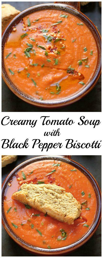 Creamy Tomato Soup with Black Pepper Biscotti