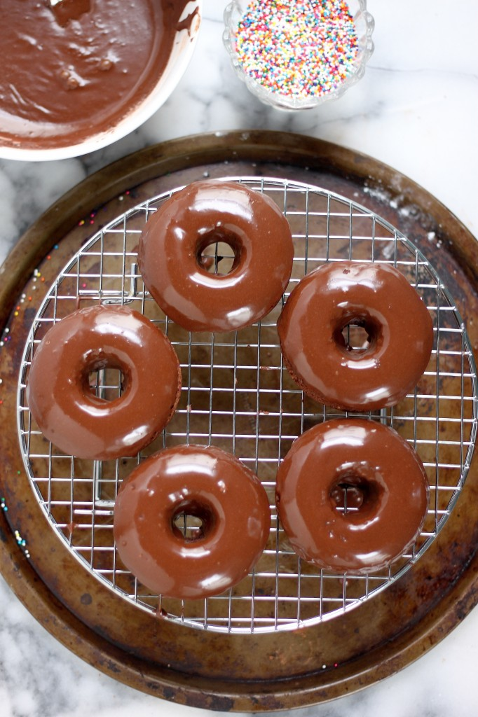 Chocolate Glazed Chocolate Banana Donuts