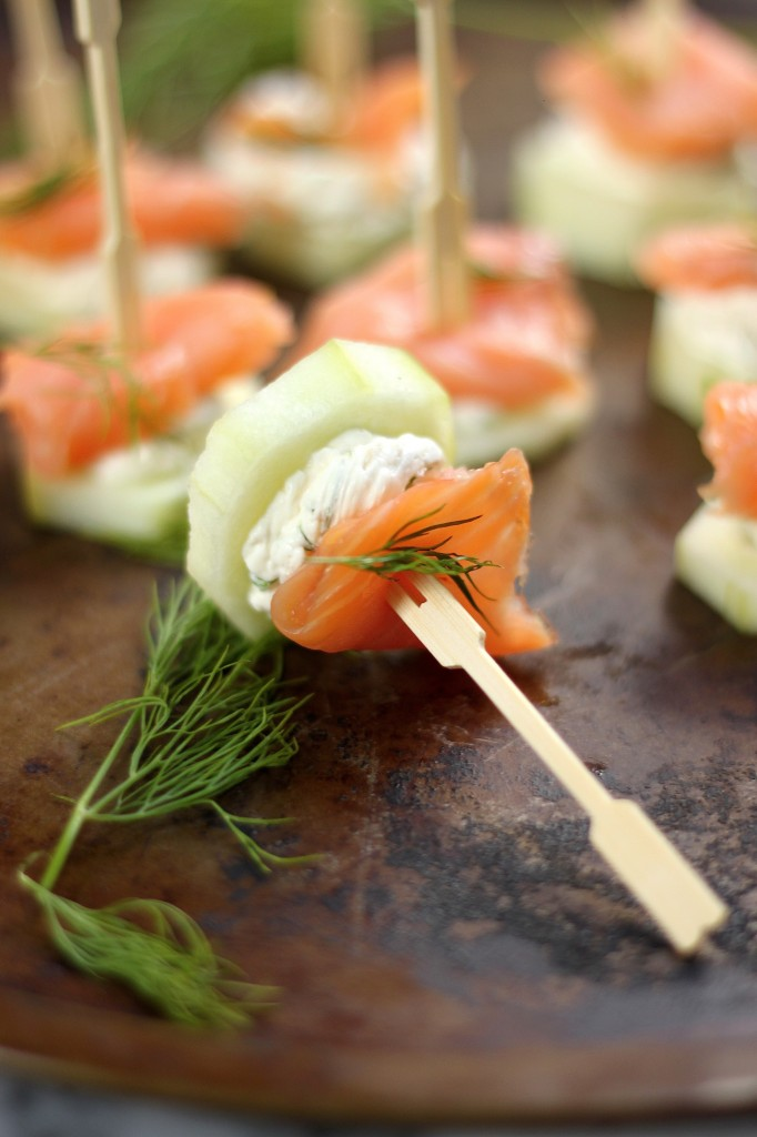 Smoked Salmon and Cream Cheese Cucumber Bites