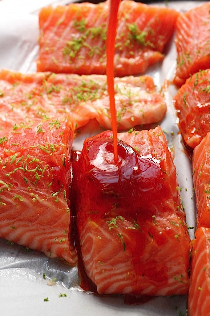Sweet and Spicy Sriracha Baked Salmon