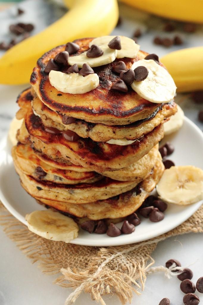 Malted Chocolate Chip Banana Pancakes