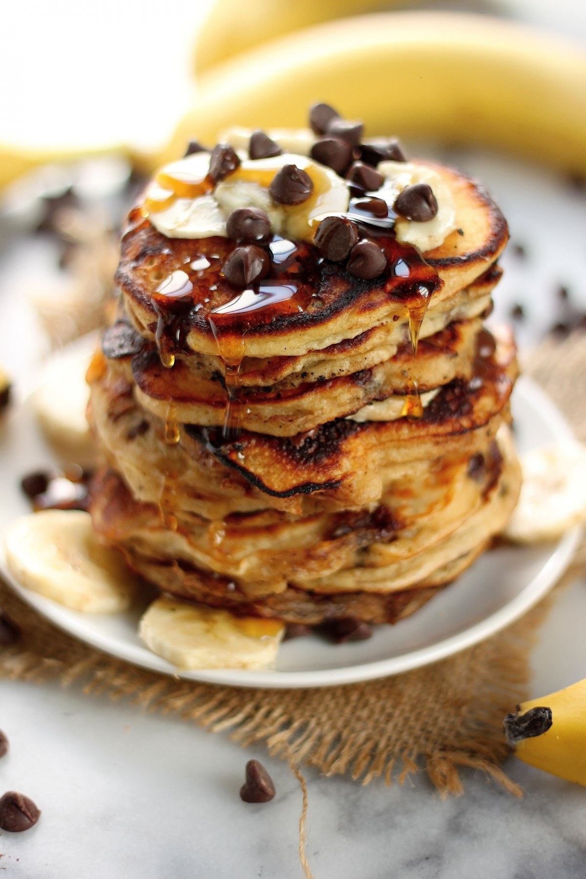 Malted Chocolate Chip Banana Pancakes - Baker by Nature