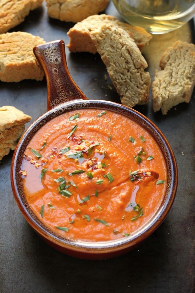 Creamy Tomato and Tarragon Soup with Black Pepper Parmesan Biscotti