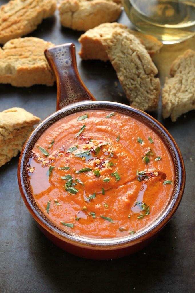 Creamy Tomato and Tarragon Soup with Parmesan Black Pepper Biscotti