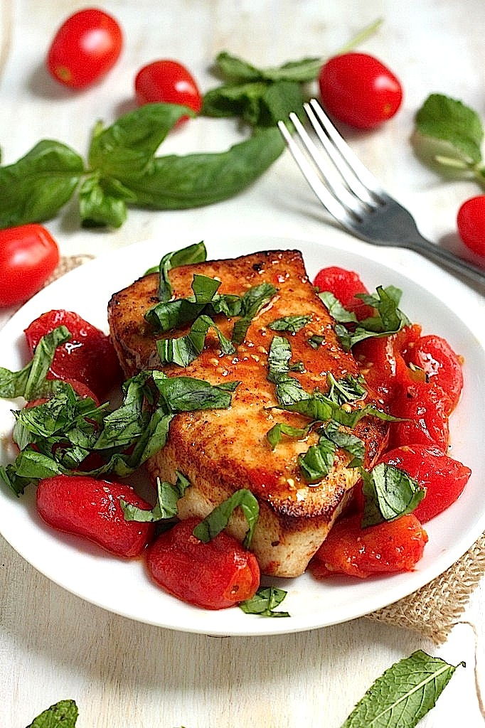 One-Pan Seared Swordfish with Spicy Olive Oil Poached Tomatoes
