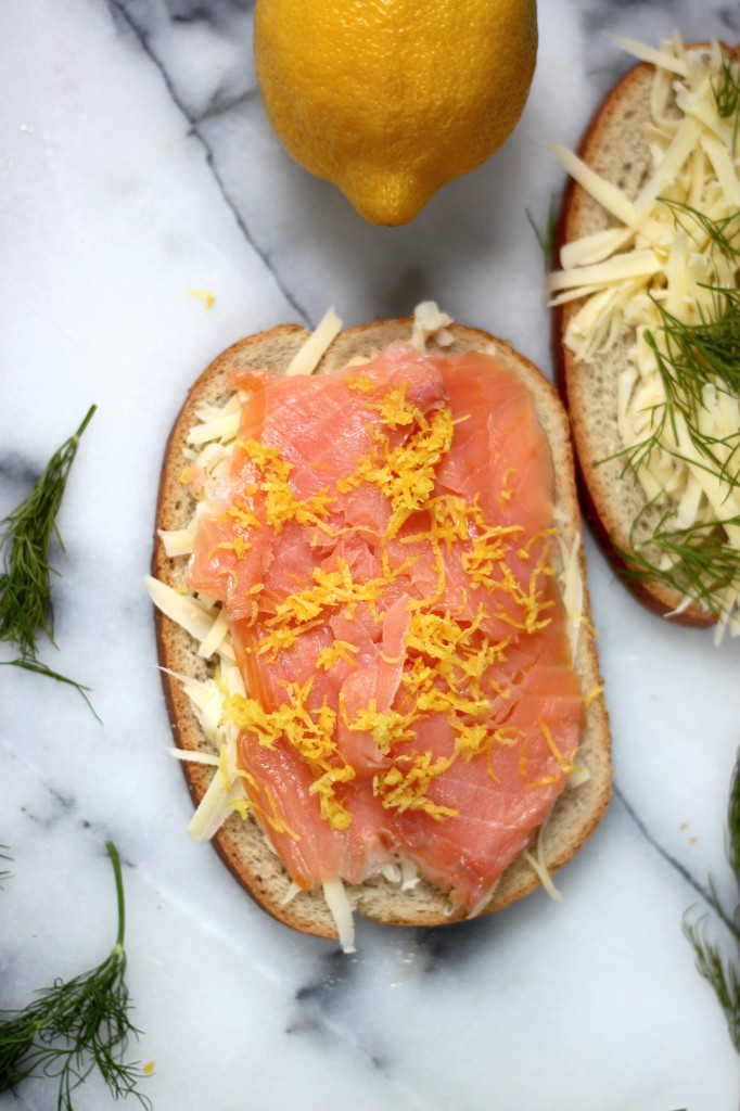 ... gruyere and luxuriously smooth smoked salmon sandwiched between