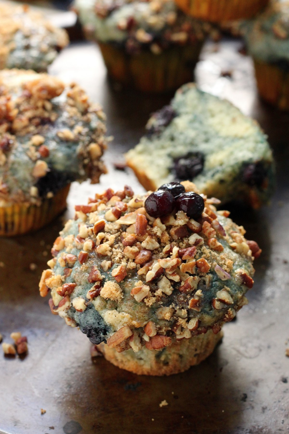Greek Yogurt Blueberry Crumble Muffins