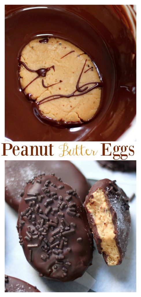 These Homemade Peanut Butter Eggs are sure to be a hit this Easter!!! Made with just a handful of basic ingredients, these salted chocolate covered peanut butter eggs are super easy to whip up!
