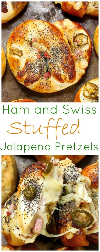 Ham, Swiss, and Jalapeno Stuffed Pretzels