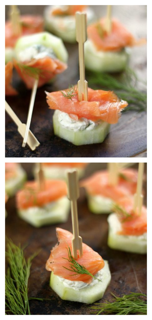 these simple yet fancy Smoked Salmon and Cream Cheese Cucumber Bites are crunchy, creamy finger food food perfection! Perfect for Easter, Mother's Day, Bridal Showers, and more. You're going to just love them!