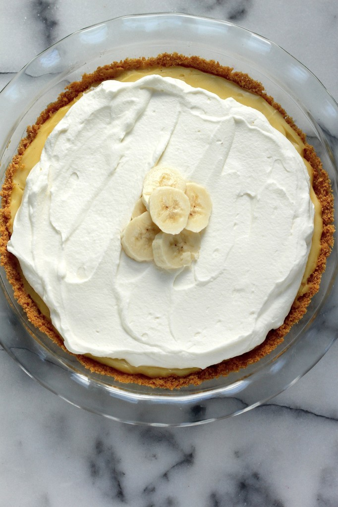 Boozy Banana Cream Pie in pie plate.