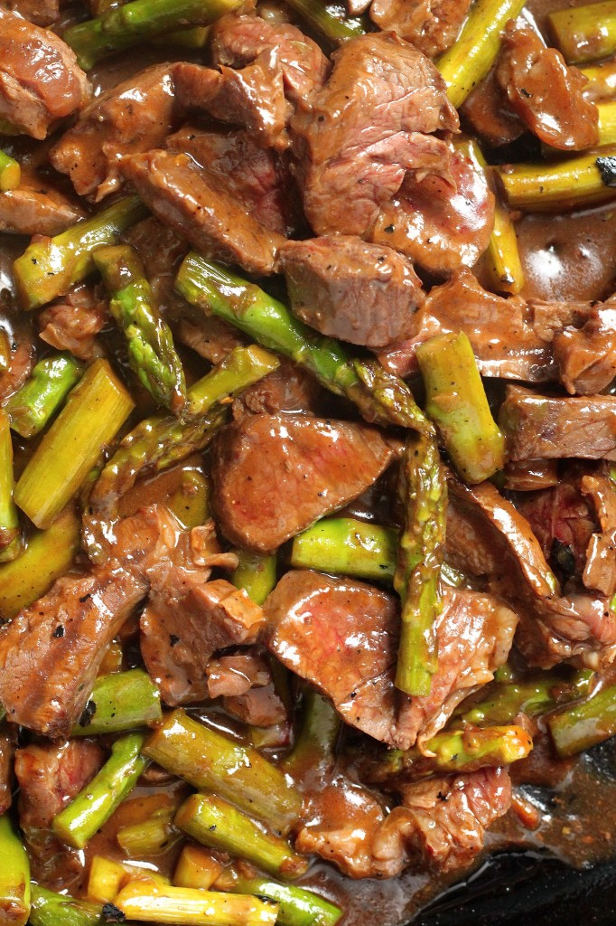 Teriyaki beef and asparagus.