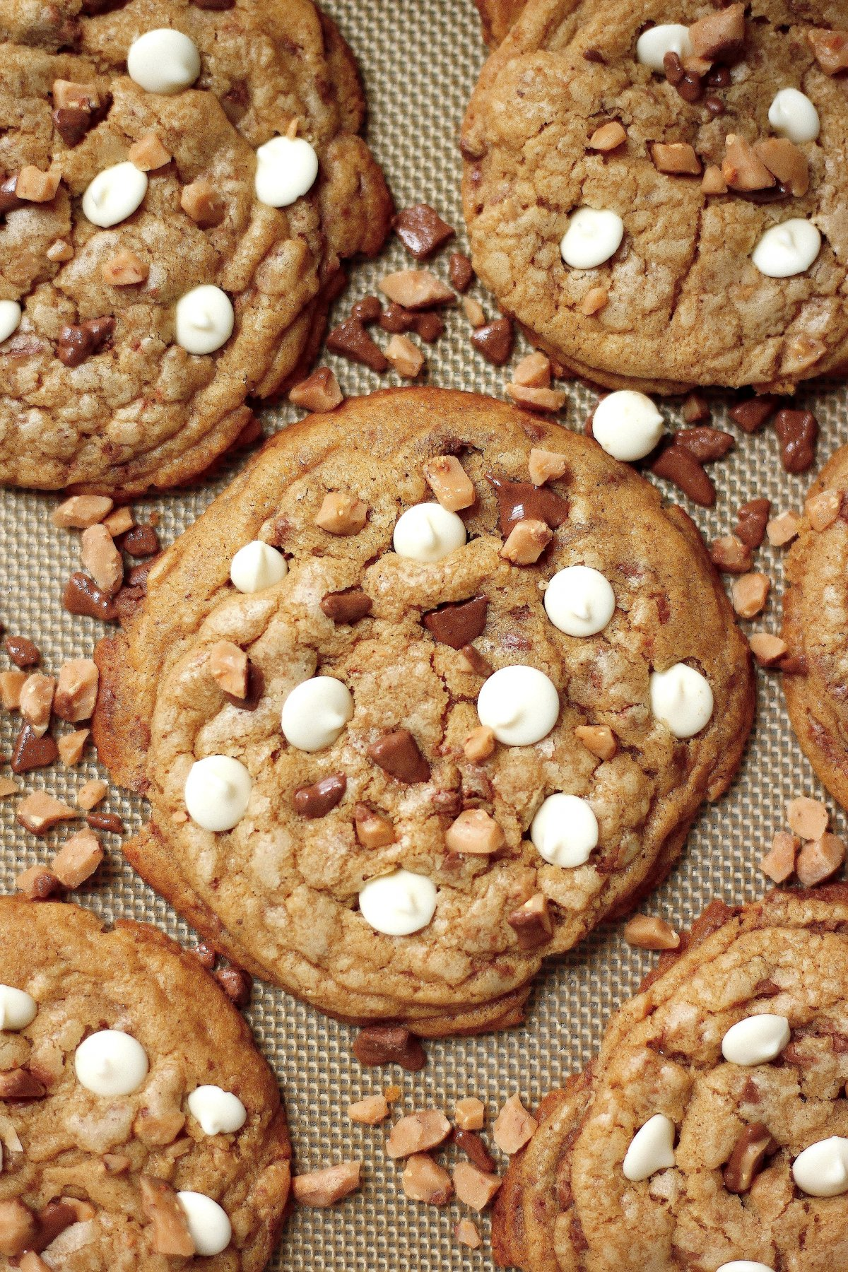White Chocolate Toffee Brown Butter Cookies - Baker by Nature