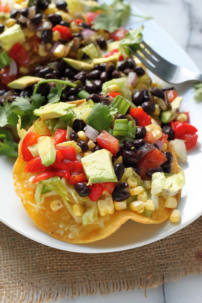 Mexican Chopped Tostada Salad - Crispy corn tortillas topped with tons ...