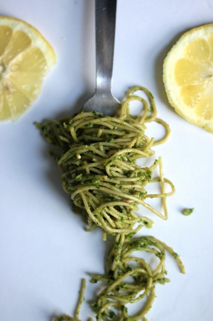 Spaghetti with Asiago Parsley Pesto