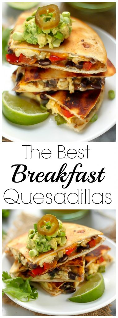The BEST Breakfast Quesadillas stuffed with eggs, black beans, peppers, and onions!