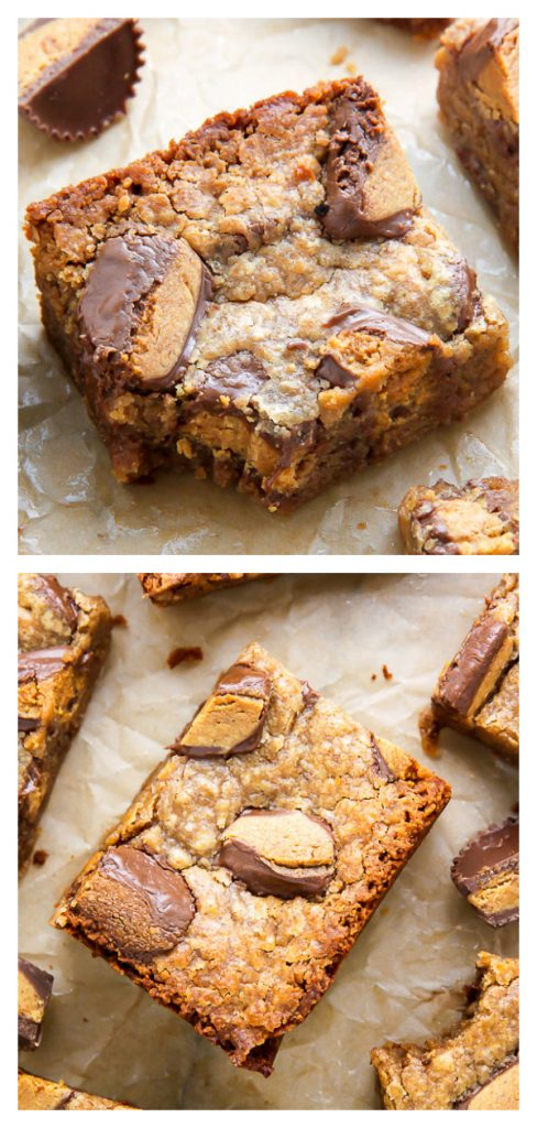 Soft and chewy 5-Ingredient Peanut Butter Blondies! Such an easy vegan blondie recipe and a must try for peanut butter lovers!